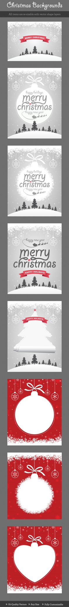 8 different backgrounds(vertical and horizontal) of Christmas messages. All of each designs are easily editable, change colors with one click or go any size…  It´s perfect to be used in Wallpapers, Websites, Banners, Headers, Ads, Leaflet, Brochure etc..  Used Font: Giddyup Std, Arial  Included Files:  * PSD (300 dpi)  * AI CS (vector)  * EPS 8 (vector – openable in any graphic program)  #poster #ads #advertising #leaflet