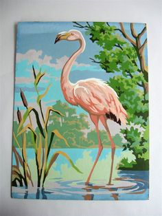 Flamingo paint by number! Flamingo Painting, Flamingo Decor, Pink Flamingos, Paint By Number Vintage, Bird Art, Watercolor Paintings, Canvas Paintings, Landscape Art, Painting Inspiration
