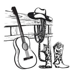 Illustration of Western country music poster with cowboy clothes and music guitar background for text vector art, clipart and stock vectors. Country Backgrounds, Music Backgrounds, Music Drawings, Horse Drawings, Danse Country, Guitar Art, Music Guitar, Music Lyrics, Music Songs