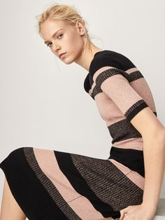 RIBBED DRESS WITH STRIPES AND SHINY DETAILS - Women - Massimo Dutti