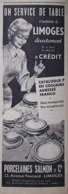 PUBLICITÉ SERVICES DE TABLE LIMOGES PORCELAINE SALMON & Cie