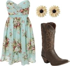 I don& really do cowboy boots, but I think it& a cute outfit. I really like the dress. I kinda wish it had straps though Country Girl Outfits, Country Girl Style, Country Dresses, Country Fashion, Country Girls, My Style, Country Chic, Country Boots, Redneck Girl Outfits