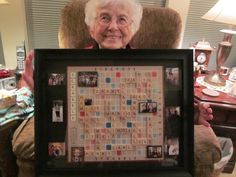 Scrabble picture with all the names of her children, grandchildren.
