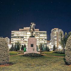 [ @artanow_2015]  A picture of horse rider statue at Central Memorial Park on a starry night in Calgary Alberta. My collection of cool/interesting/inspirational artwork and photography from net