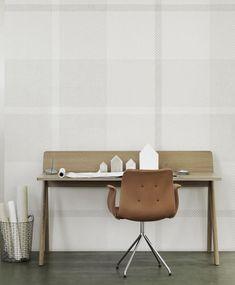 Panel papel pintado cuadros grises   telas & papel