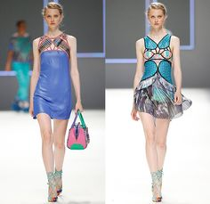 Custo Barcelona 2016 Spring Summer Womens Runway Catwalk Looks - 080 Barcelona Fashion Catalonia Catalan Spain - Jeans Sheer Chiffon Mesh Lace Lasercut Cutout Tunic Blouse Multi-Panel Mix Match Bralette Flowers Florals Leaves Foliage Print Motif Ornamental Print Swim Bikini Geometric Halter Top Maxi Dress Pants Trousers Knit Onesie Jumpsuit Coveralls Shorts Jacket Noodle Strap Fringes Handbag