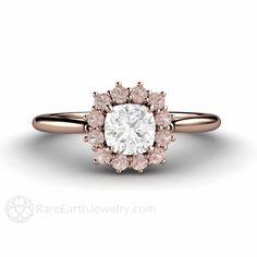 Rosa Diamant Verlobungsring Pink Diamond Ring Kissen Halo Cluster 14K oder 18K Gold Rosa Steinring von RareEarth auf Etsy https://www.etsy.com/de/listing/200647709/rosa-diamant-verlobungsring-pink-diamond