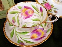 Tuscan tea cup and saucer purple tulip artist signed teacup pattern wide mouth