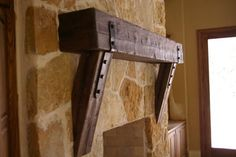 Reclaimed Wood Mantle Design Ideas, Pictures, Remodel, and Decor - page 11 Wood Fireplace Surrounds, Wood Mantle Fireplace, Wood Mantels, Custom Fireplace, Fireplace Ideas, Mantel Ideas, Mantel Shelf, Reclaimed Wood Mantle, Rustic Mantel