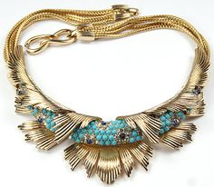 Boucher Gold Sunrays and Pave Turquoise and Sapphire Cabochons Highlights Necklace