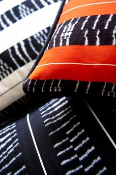 Maggie Galton blue and orange ikat rebozo pillows