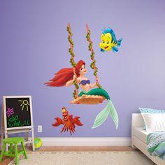 Ariel - Swinging REAL.BIG. Fathead – Peel & Stick Wall Graphic | The Little Mermaid Wall Decal | Disney Decor | Kids Bedroom/Playroom/Nursery