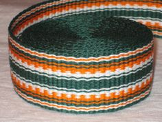 Green orange and white handwoven inkle trim over 14 by applegirl5, $39.00