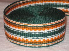 Green orange and white handwoven inkle trim over 14 by applegirl5, $39.00