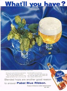 Paper Ads Bast Blue Ribbon Beer Pabst Brewing Company Milwaukee WI USA  Fresh hops.