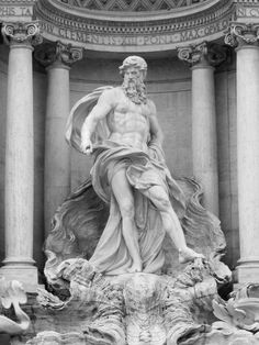 Oceanus on the Trevi Fountain designed by Italian architect Nicola Salvi and completed by Pietro Bracci.