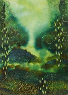 Abstract Green Painting Contemporary Garden by TheGoldenTrees, €156.00