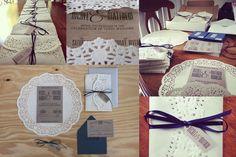 Doily Vintage Wedding Invitations, lace invitations, rustic wedding, rusting wedding invitations, country wedding, kraft paper, doily invitation