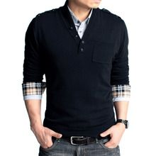 men's v-neck sweater simple fashion korean slim personalized button collar solid color temperament type men sweaters Thumbnail