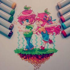 """COPIC MARKER""  Dibujo para la miyi!  @miyamelon \(o7o)/ Sus OC Hiro y Aiyu me…"
