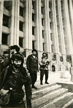 Chechen rebels near the president palace.