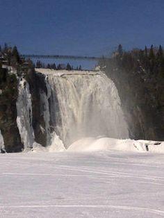 frozen montmorency falls in quebec in the winter