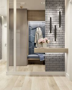 Modern large mirror in the interior fitting – examples and tips – Decor Corridor Design, Hall Design, Hall Interior, Bathroom Interior, Entryway Closet, Entryway Decor, Casa Pop, Tuile, Condo Living