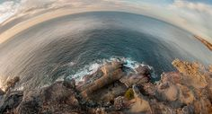 Inching precariously close to the sunrise. The Samyang fisheye lens really lets photographers shape the landscape. Sydney Photography, Fisheye Lens, Sydney Australia, Photographers, Sunrise, Waves, Shape, Landscape, Beach