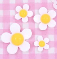 Cute White & Yellow Kawaii Daisy Flower Cabochons Decoden Kitsch - CHOOSE AMOUNT