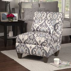 Tufted Accent Slipper Side Chair Armless Piping Living Room Lounge Furniture New #Hpop #Modern