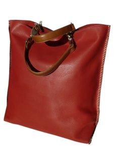 "HANDLES SOLD SEPARATELY, please enter as separate item. Gajumbo, large tote in Pebble Grain Leather, fully lined, 2 zippered pockets, cell phone pocket, key chain holder, handles sold separately RED LATTE HOT ORANGE and TAN16""WIDE 17""TALL 5.5""DEEP  #ijphunt"