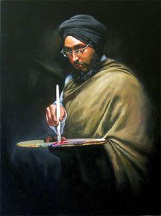 Artist self portrait by Sikh artist Bharpur Singh. Visit his website at: http://www.bharpur.tech-vogue.com/