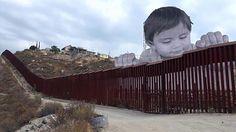 Fransız sanatçı JR'ın, Amerika Birleşik Devletleri ile Meksika sınırı üzerinde yaptığı 20 metre yüksekliğindeki fotoğraf çalışması büyük ilgi gördü ile ilgili görsel sonucu