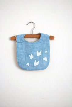 white+birds+bib++light+blue+linen+by+yorikoNewYork+on+Etsy,+$22.00