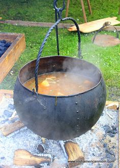 Iron Viking Soup Pot Over Open Flame Fire Cooking Age Cauldron