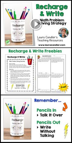 Recharge & Write is a terrific strategy for solving word problems! Not only is this cooperative learning activity fun for kids, it fosters meaningful math talk while holding students accountable for solving each word problem. Watch this short video from L Writing Resources, Teaching Resources, Teaching Ideas, Writing Services, Cooperative Learning Strategies, Math Activities, Math Games, Leadership Activities, Educational Leadership