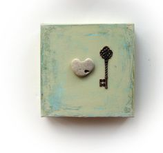 OOAK Valentines Day Gift for him  the key to my by MedBeachStones, $35.00