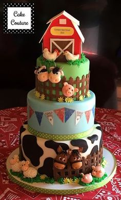 Barnyard cake by Cake Couture. Patisserie Design, Patisserie Paris, Decoration Patisserie, Boutique Patisserie, Barnyard Cake, Barnyard Party, Farm Cake, Farm Party, Farm Birthday Cakes