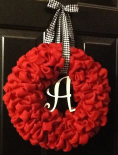 Red Alabama Burlap Wreath with a Wooden A by ThatsMyGracie