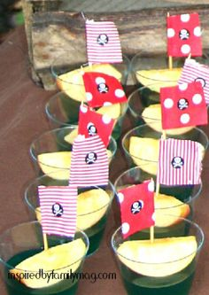Jello Pirate Ships - simple and fun summer snack or perfect for a pirate themed gathering. I love that the ships are apple wedges to add a healthy balance to the snack.