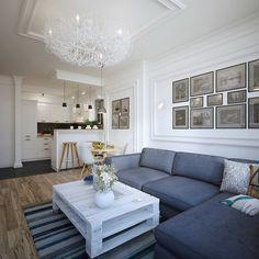 table basse palette bois en blanc neige et canapé d'angle en gris anthracite