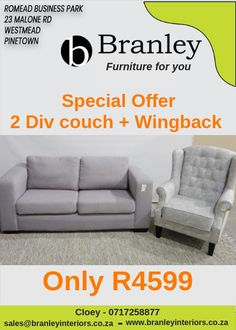 Monday Madness 2 Div Grey couch Grey Wingback chairs Both these items for Only Furniture For You, Quality Furniture, Wingback Chairs, Grey Couches, Lounge Suites, Wholesale Furniture, Madness, Interiors, Wing Chairs