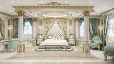 Delightful Master Bedroom Design in Dubai. Our expertise will give your Master Bedroom a creative look with the bespoke design. Mansion Bedroom, Mansion Interior, Luxury Homes Interior, Home Interior, Interior Design, Chic Master Bedroom, Master Bedroom Interior, Master Suite, Royal Bedroom