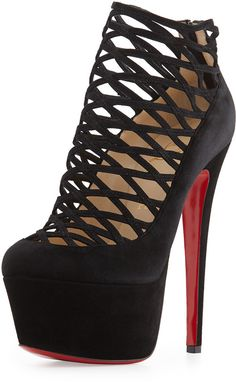 e6f162454 Christian Louboutin Milleo Suede Lattice Red Sole Pump, Black on  shopstyle.com Semelle Rouge