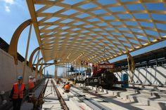 Bahnsteigüberdachung HBF, Kassel Neubau, Dach Lamella roof construction