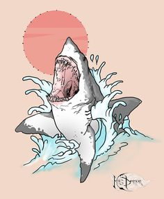Create personal illustration for tatoo by Krisdemon Shark Illustration, Tattoo Illustration, Graphic Design Posters, Graphic Design Illustration, Fish Drawings, Art Drawings, Graphic Wallpaper, Graphic Artwork, Shark Drawing