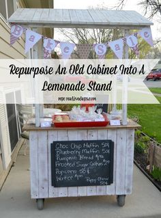 Do your kids love to do lemonade and bake sale stands? Make their stand extra special by Repurposing An Old Cabinet Into A Lemonade Stand like mycreativedays.com did.