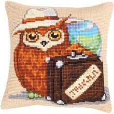 "Voyager Stamped Cross Stitch Pillow Cushion Kit 16"" x 16"""