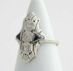 Art Deco Sapphire Ring, Antique Shield Ring in 18k White Gold and Diamonds #Antique
