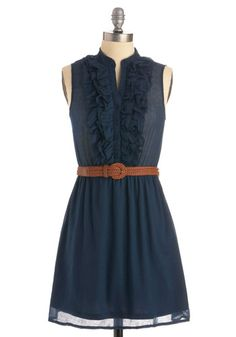 Perfect navy weekend dress with boots or wedges